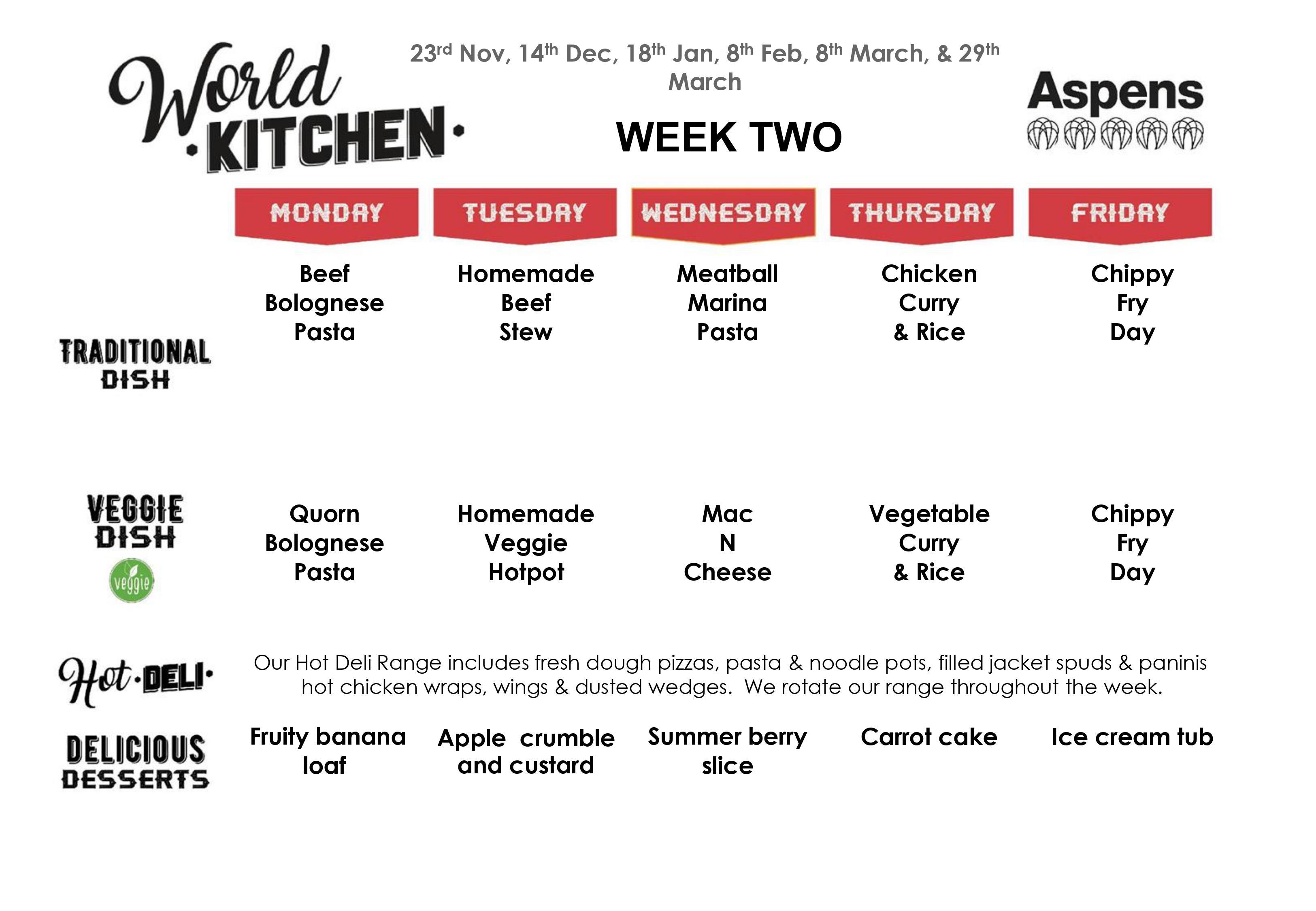 Week 2 menu